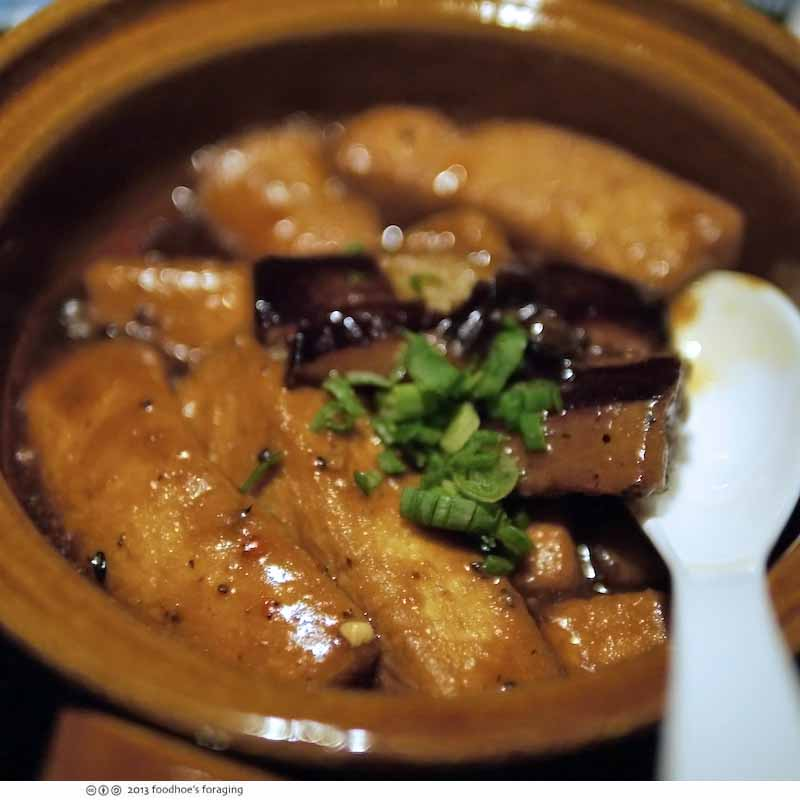 Tofu, eggplant and shiitake mushroom claypot in chili black bean sauce ...