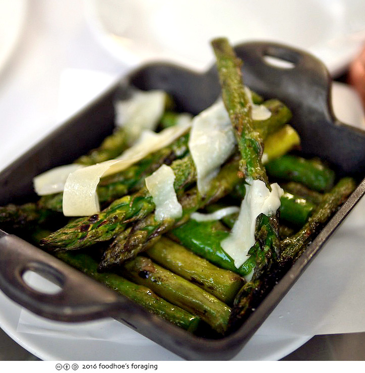 We shared a side of Grilled Asparagus ($7) bright with the flavors of ...